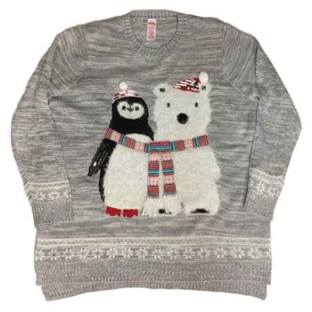 Penguin Jersey Sweater - Womens Bear & Bird Grey Knit Sweater Polarbear Penguin Holiday Pullover