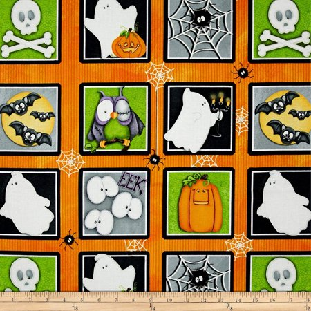 Chills and Thrills Halloween Motif Squares Glow in The Dark Multi Fabric by The Yard, Fabric Type: 100% Cotton By Henry Glass