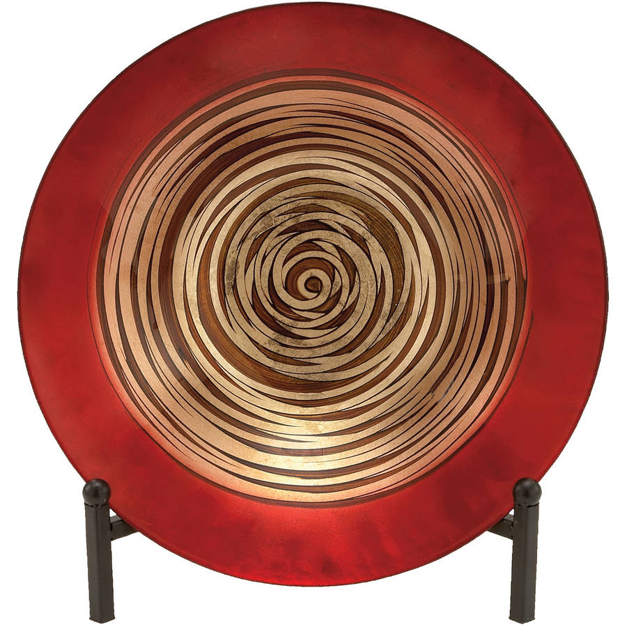 Decmode Contemporary 15 Inch Geometric Spiral Glass Bowl with Easel by Benzara