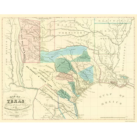 Old Map Of Texas.Old State Map Texas Grants By Colorado And Red River Land Co 1835 23 X 29