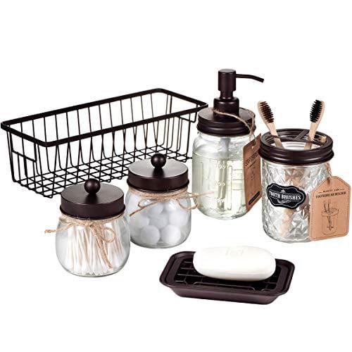 Premium Mason Jar Bathroom Accessories, Bathroom Accessories Bronze