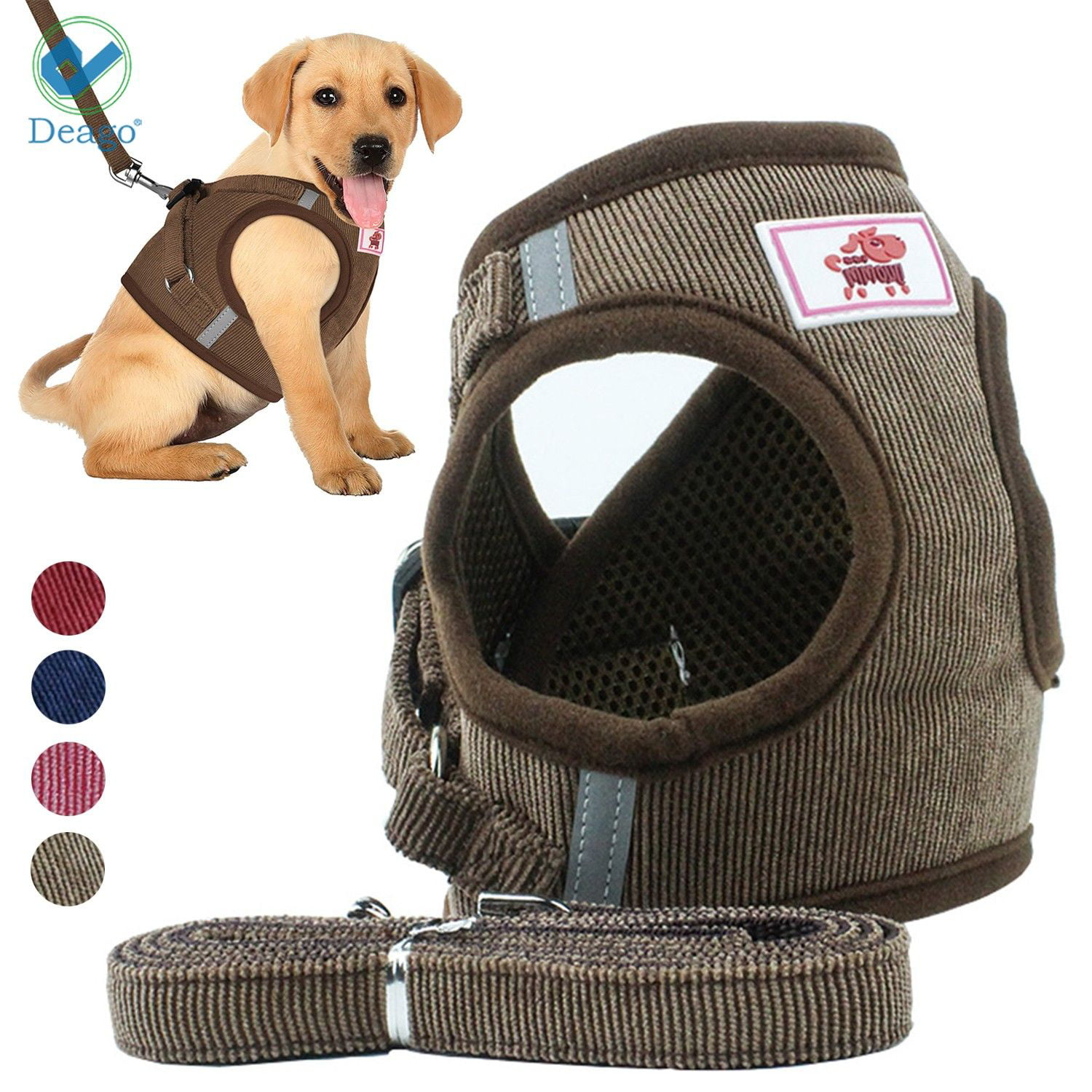 BurBurly Pet Vest Harness with Handle Adjustable Traction Rope Pet Dog Chest Strap Retro Pattern Neck Chest Belt Comfort Vest for Outdoor Training Walking