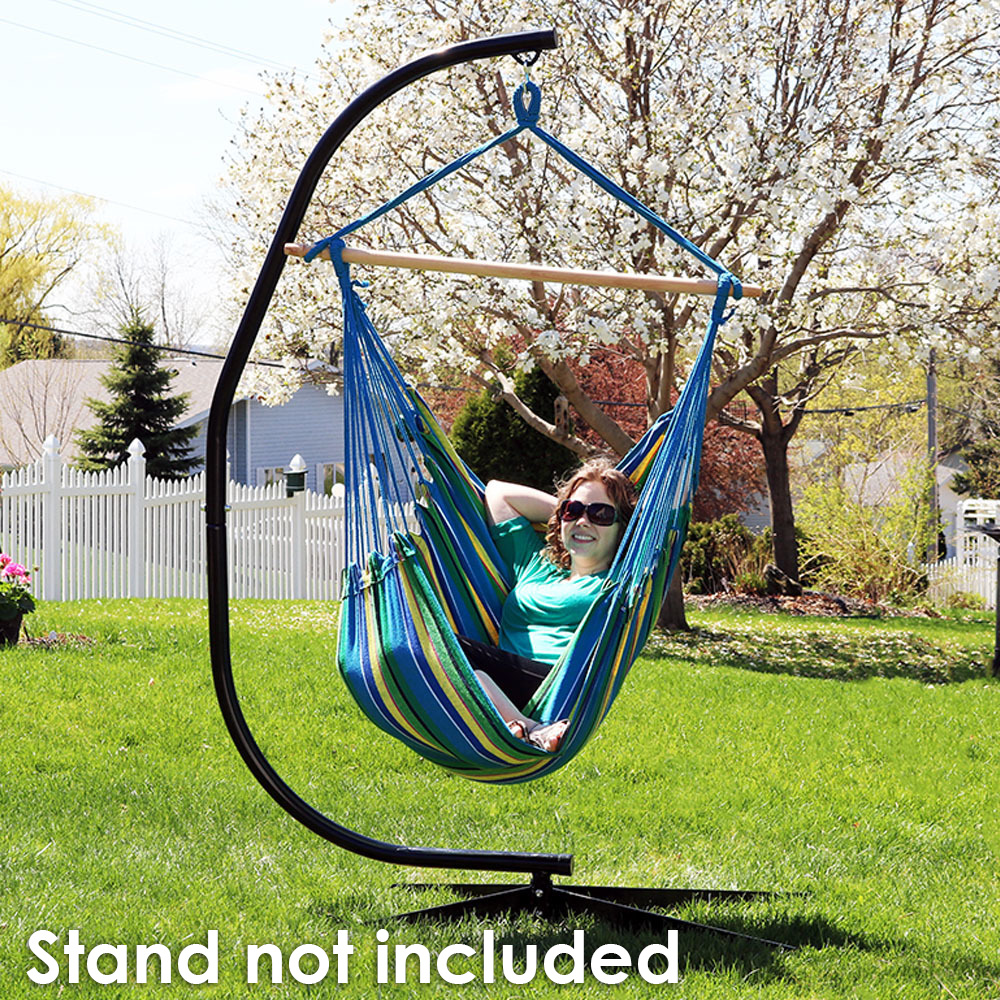 Sunnydaze Jumbo Extra Large Hammock Chair Swing, Ocean Breeze, for Indoor or Outdoor Use, Max Weight: 330 Pounds