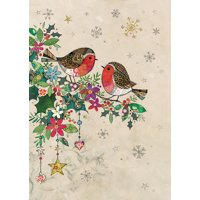 Notes & Queries Two Small Robins Perched on Colorful Floral Branch 'Bug Art' Embossed Christmas Card