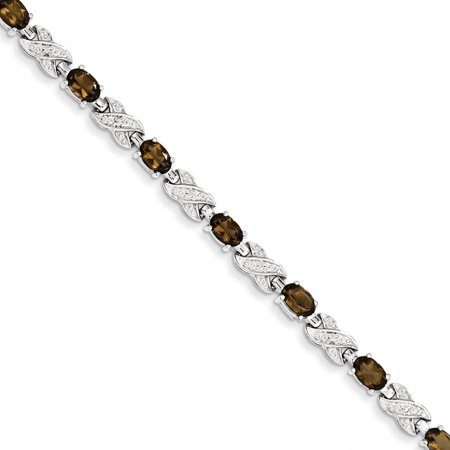 Sterling Silver Rhodium-plated Smoky Quartz Bracelet 7