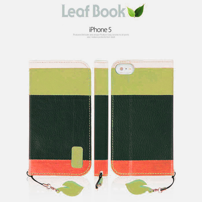 iPhone SE/5/5s Wallet Case by Mobc [Green] Leaf Book Diary Case Featuring Premium Leather  Slim Wallet Cover with Stand