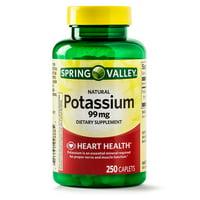 Spring Valley Potassium Caplets, 99 mg