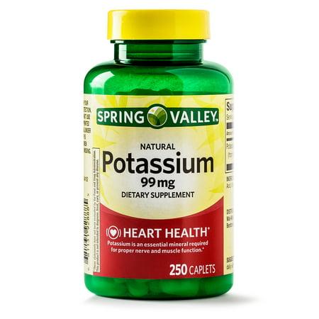 (2 Pack) Spring Valley Potassium Caplets, 99 mg, 250 Ct (Losartan Potassium)