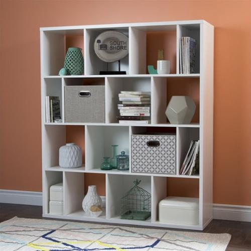 South Shore Reveal 16 Cubby Wood Bookcase in White