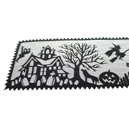 Halloween SPOOKY HOLLOW TABLE RUNNER Fabric Pumpkins Ghost Bats 1472B New