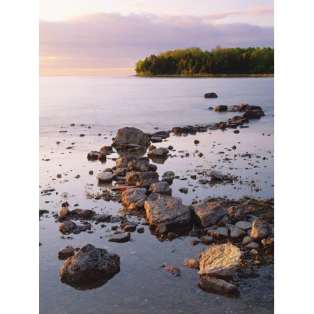Sunset Light on the Rocky Shore of Green Bay at Peninsula State Park, Wisconsin, USA Print Wall Art By Willard (Bay Park Square Green Bay)