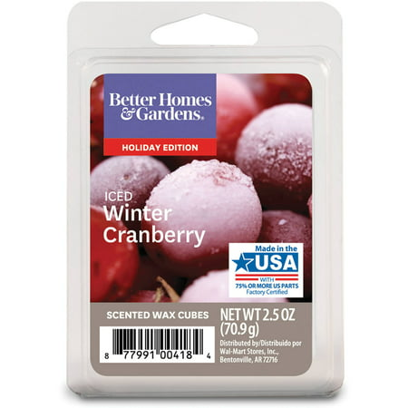 Better homes and gardens iced winter cranberry wax cubes for Better homes and gardens wax melts