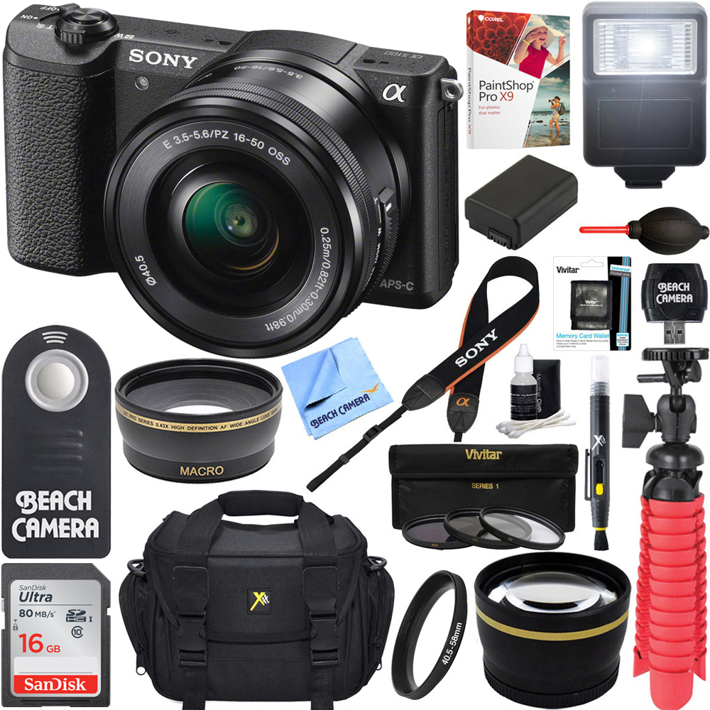 Sony Alpha a5100 HD 1080p Mirrorless Digital Camera Black + 16-50mm Lens Kit + 16GB Accessory Bundle + DSLR Photo Bag + Extra Battery + Wide Angle Lens + 2x Telephoto Lens + Flash + Remote + Tripod
