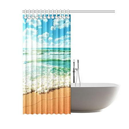 GCKG Coast of Beach Nature Island Ocean Wave Sandy Sun of Beach Shower Curtain 60x72 Inches Polyester Fabric Bathroom Sets Home Decor - image 1 de 3