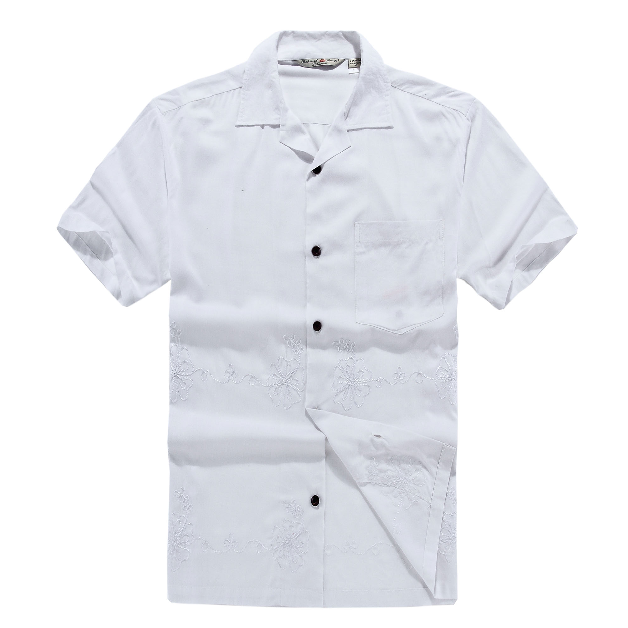 Men's Hawaiian Shirt White Dress