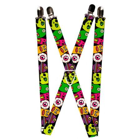 Bright Colorful Scary Alien Monster Eyeball Faces Suspenders](Scary Eyeballs)