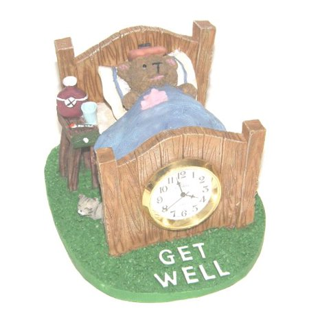 Table Mantle Clock (Get Well Teddy Bear in Bed Resin Table Mantle)