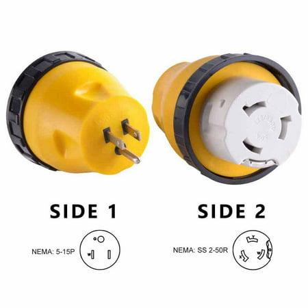Superior Electric RVA1511L RV Power Cord Adapter 15 amp Male to 50 amp Twist Lock Female Camper