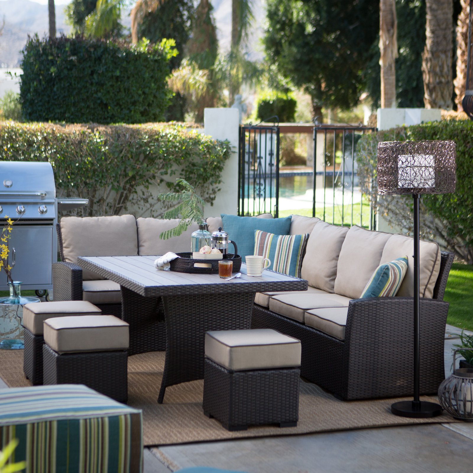 Belham Living Monticello All-Weather Wicker Sofa Sectional Patio Dining Set Image 2 of 10 & Belham Living Monticello All-Weather Wicker Sofa Sectional Patio ...