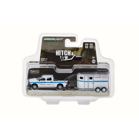 2017 Dodge Ram 2500 and Horse Trailer Chicago Police Mounted Patrol, White/Blue - Greenlight 32110D - 1/64 Scale Diecast Model Toy Car (New Halloween Trailer 2017)