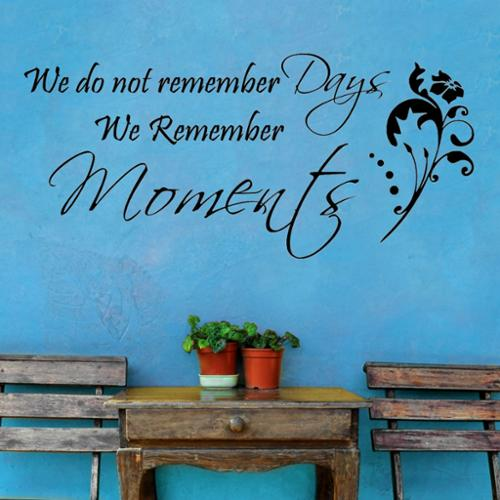 Decal the Walls Vinyl 'We Don't Remember Days, We Remember Moments' Vinyl Wall Decal