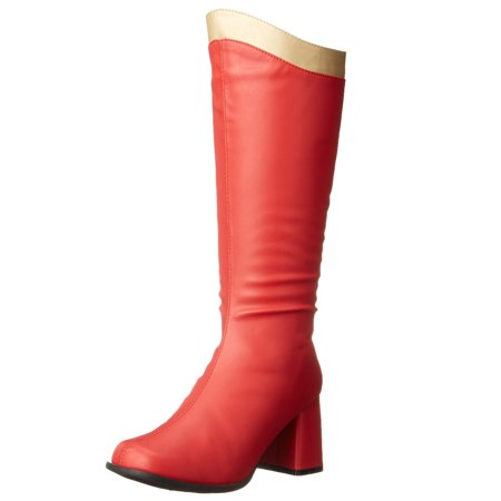 Gold Trim Boots (Womens Wonder Woman Boots Red Knee High White or Gold Trim Zipper 3 Inch)