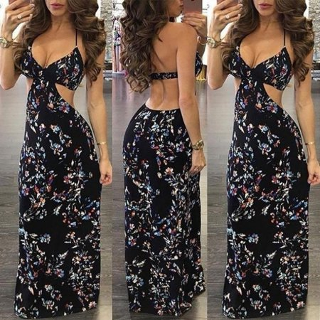 Fashion Womens Summer Sleeveless Evening Party Beach Long Maxi Sundress Dress S M L XL