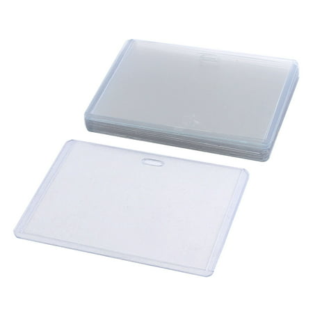 Clear Plastic Horizontal ID Card Name Tag Business Badge Holder Case 10pcs - Plastic Name Badge Holders