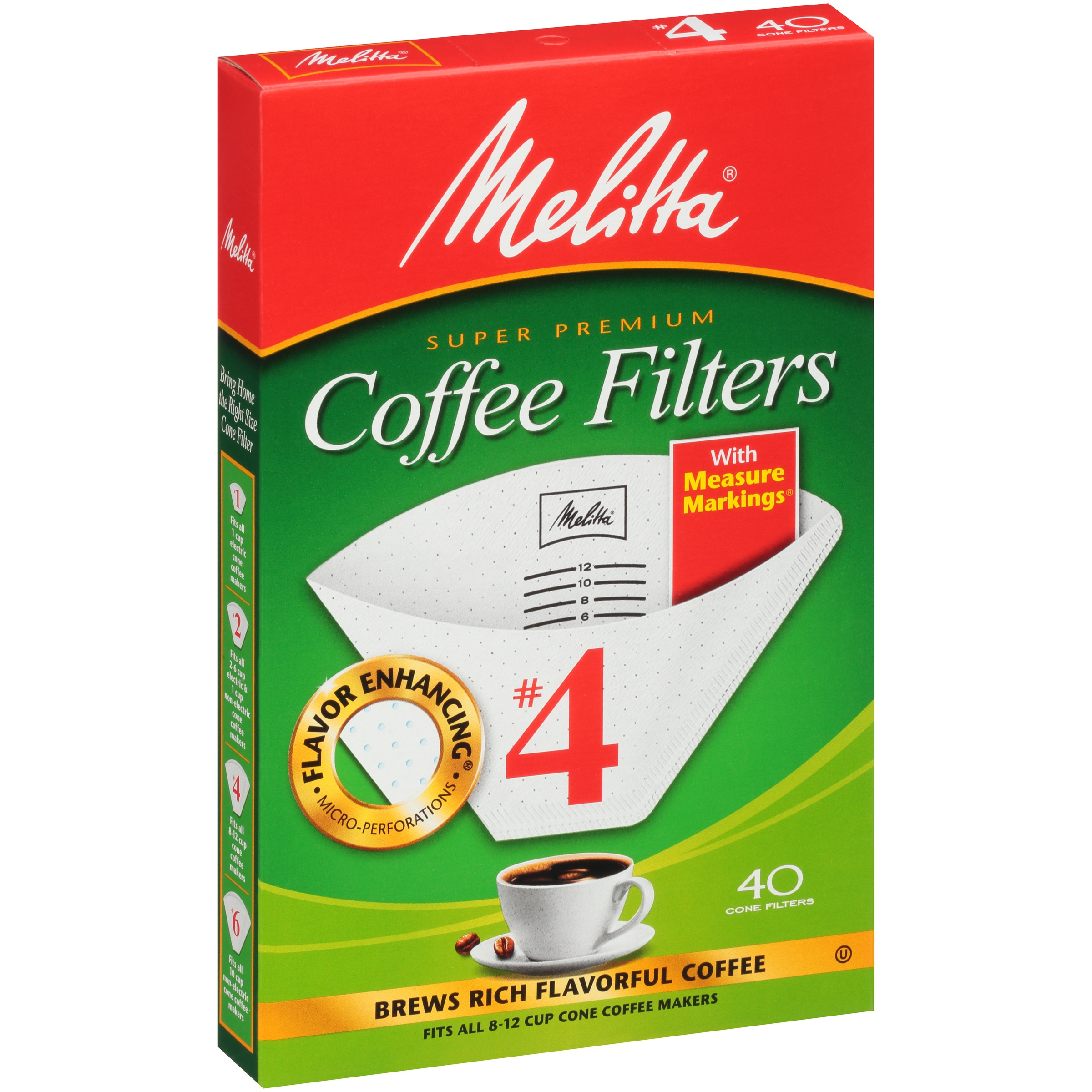 Melitta #4 White Cone Coffee Filters, 40 Count