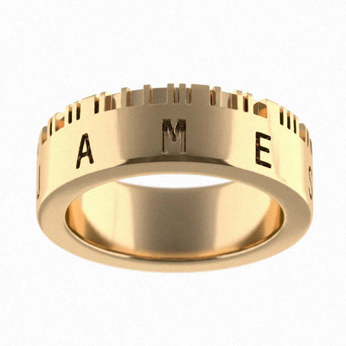 3D Printed Personalized Barcode Name Ring