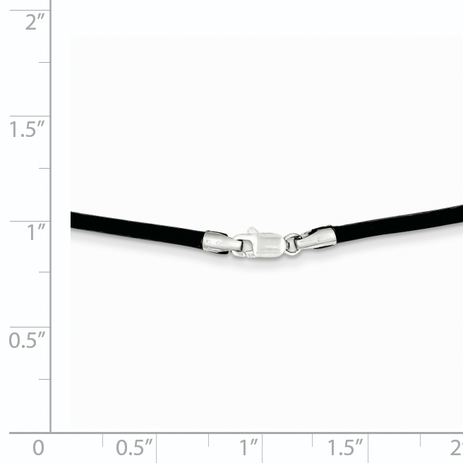14k White Gold 2mm 20 Inch Black Leather Link Cord Chain Necklace Pendant Charm Fine Jewelry Gifts For Women For Her - image 1 of 2