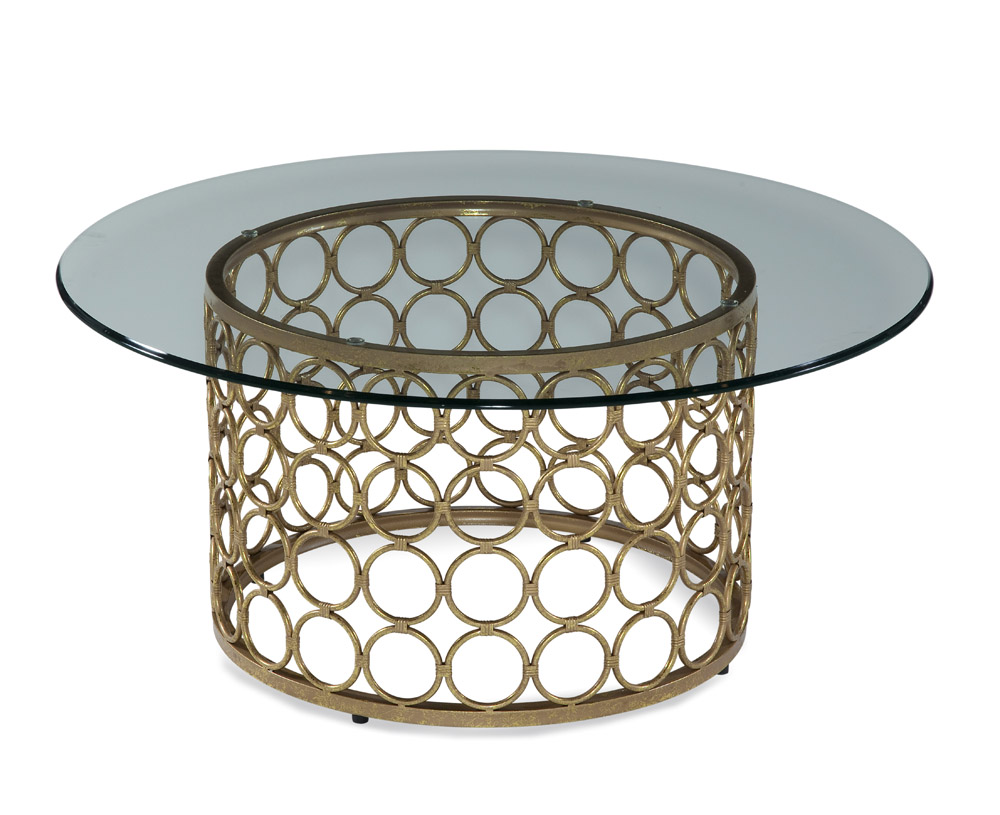 Bassett Carnaby Round Cocktail Table in Lux Gold & Goldleaf by