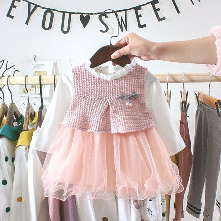 Children's autumn girls cute mesh solid color fake two-piece long-sleeved sweet dress