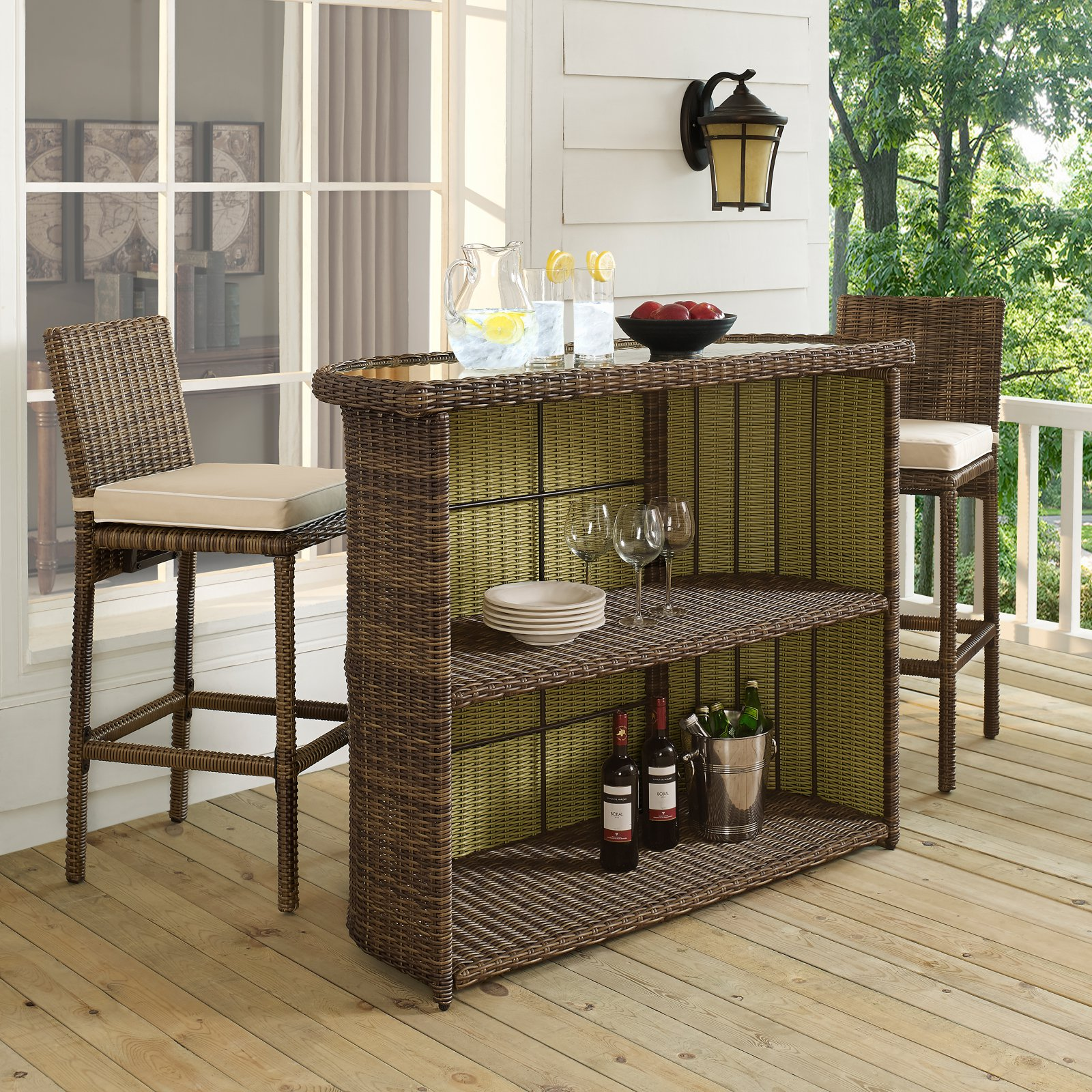Crosley Furniture Bradenton Outdoor Wicker Bar
