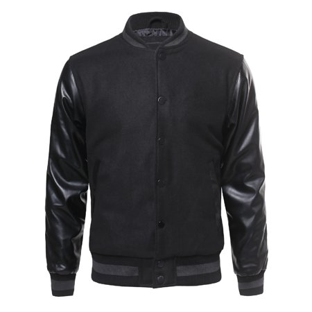 FashionOutfit Men's Heavyweight Pleather Wool Blend Bomber Jacket With (Pleather Bomber)