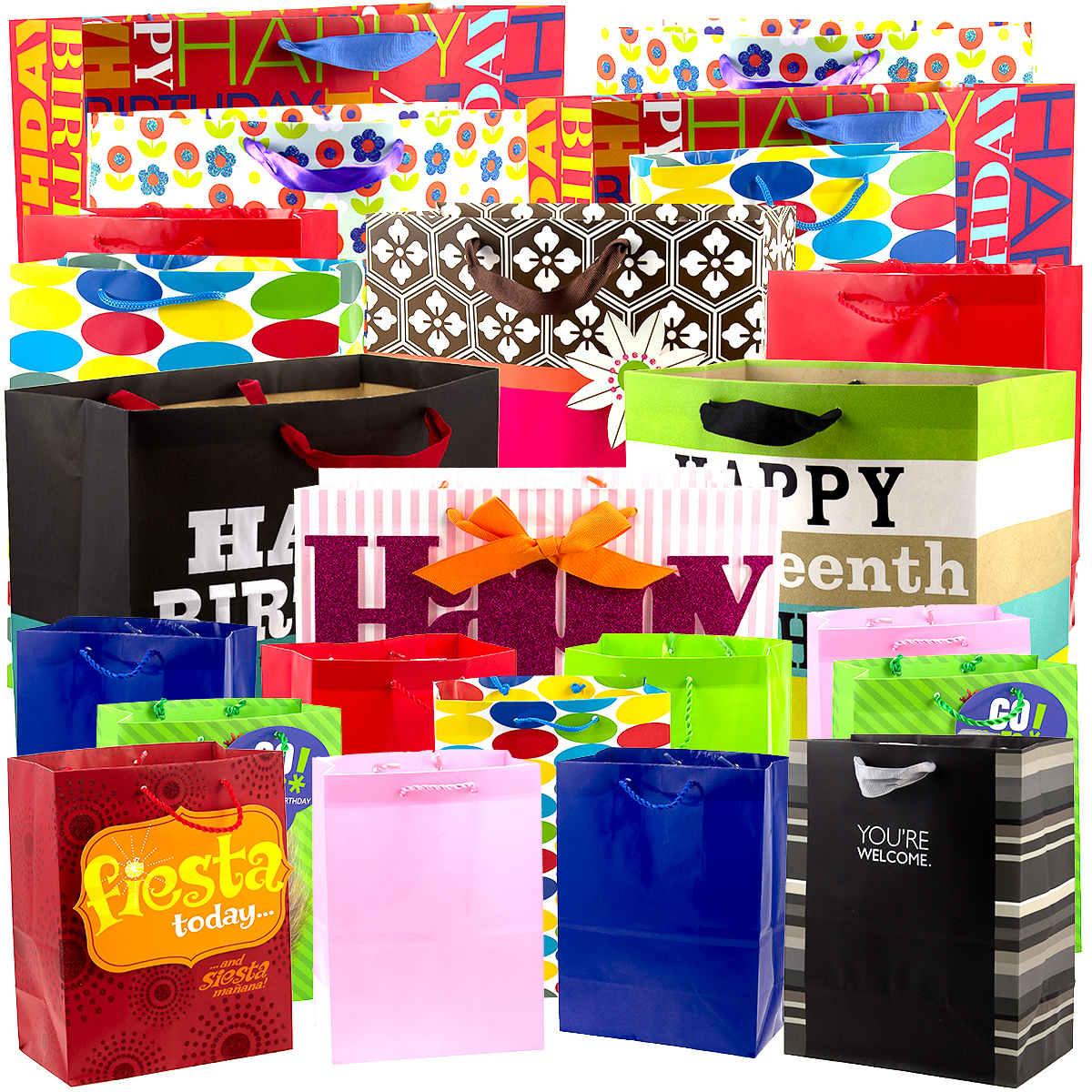 24pk Hallmark Gift Wrap Bags Birthday Present Holiday Party Favor Sacks Bulk Lot