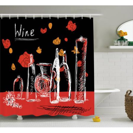 Wine Shower Curtain Scribbled Drawings Of Bottles Decanter Pitcher And Jar With Abstract Florals