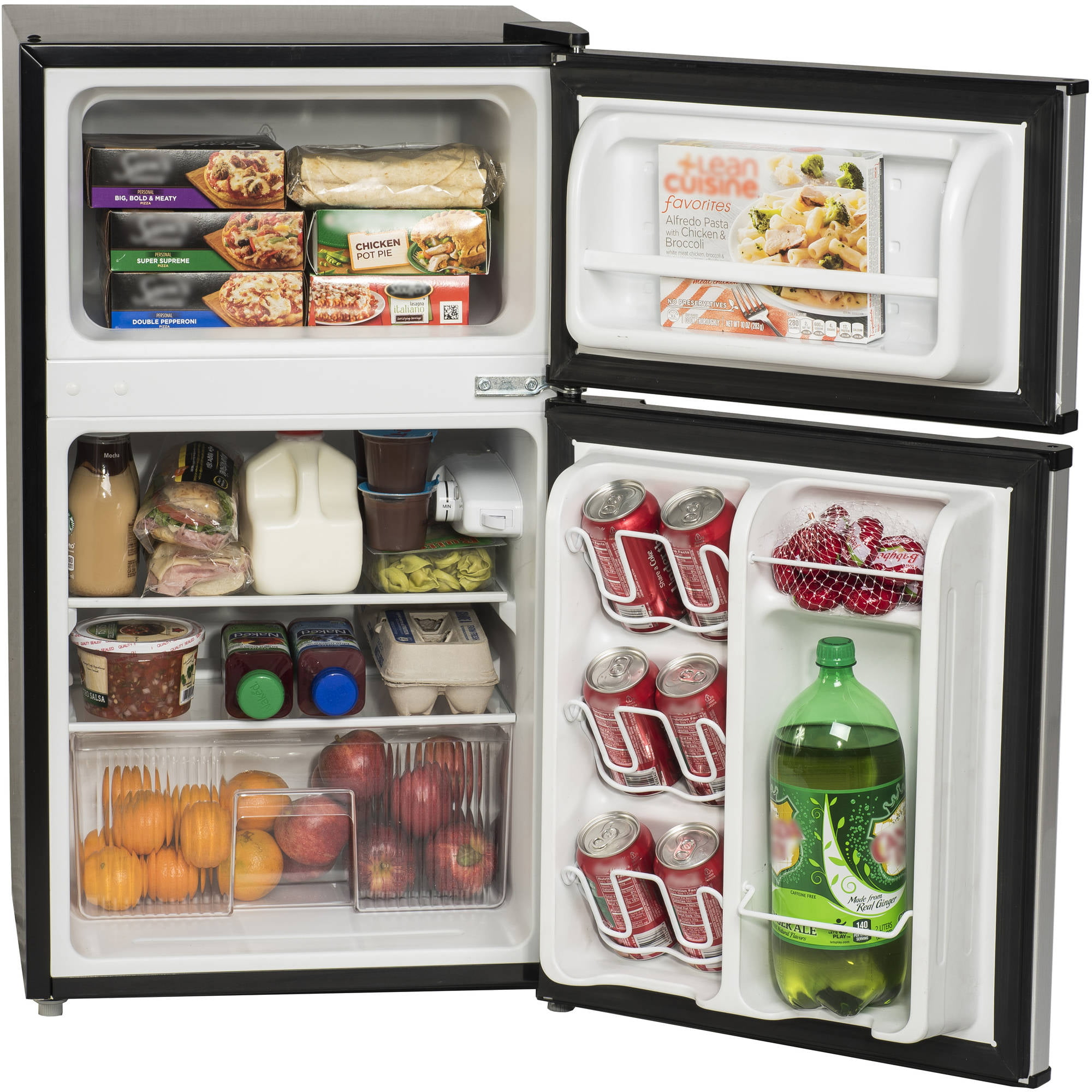 Arctic King 3.2 Cu Ft Two Door Mini Fridge With Freezer, Black   Walmart.com
