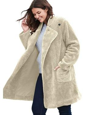 6e02bf54e67aa Product Image Plus Size Rib Knit Collar Berber Jacket