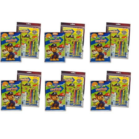 Party Favors Paw Patrol Grab & Go Play Packs- Coloring Book & Crayons- 6 PACK, Each Play Pack contains 4 Crayons, 25 Stickers, and one 24-page.., By