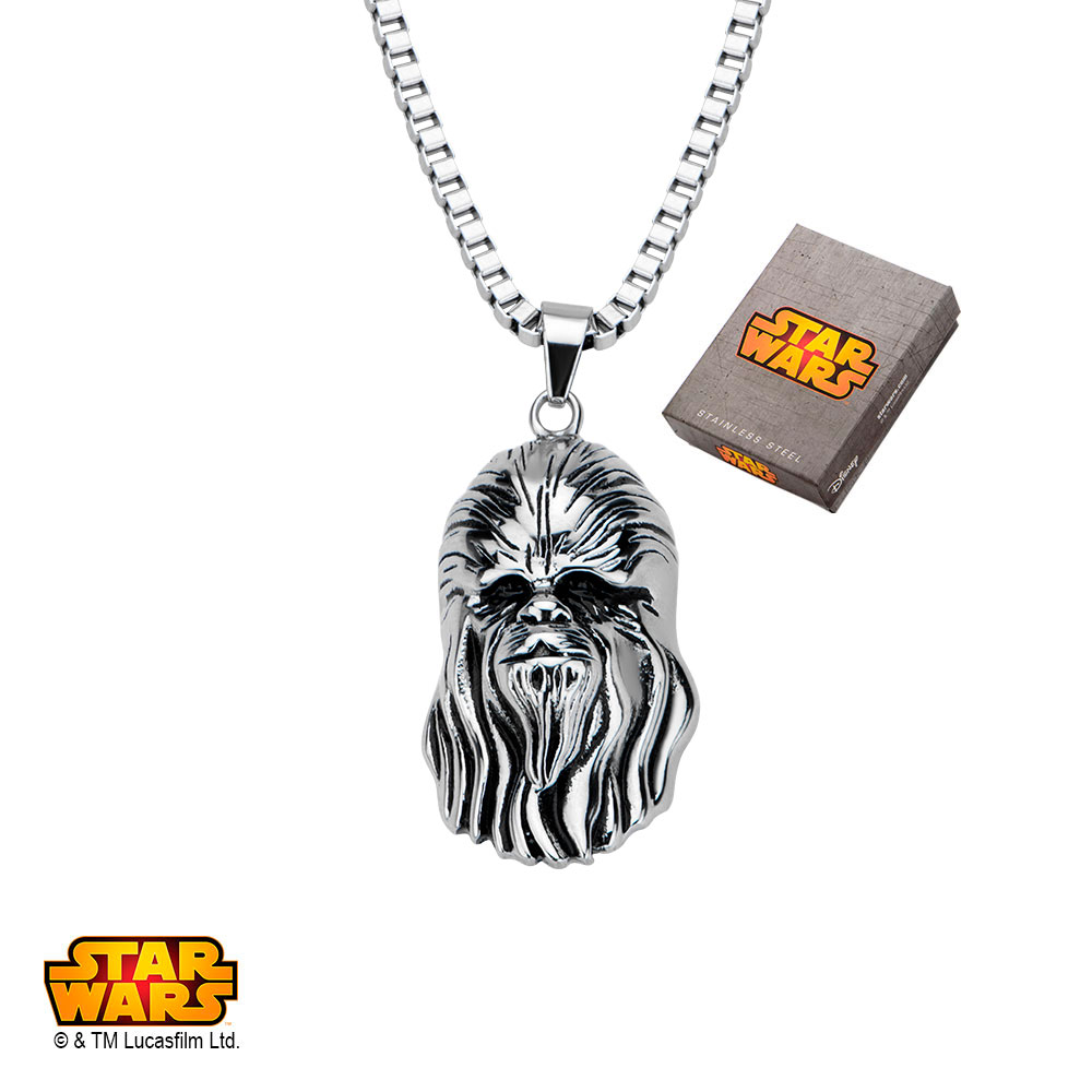 "Disney Stainless Steel Star Wars 3D Chewbacca Pendant, 22"""