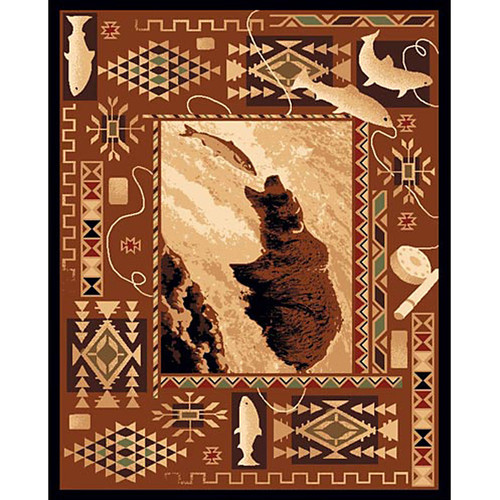 DonnieAnn Company Lodge Design Fish and Bear Novelty Rug