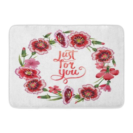GODPOK Red Award Wildflower Carnation Flower Wreath in Watercolor Full Name of The Plant Garden Aquarelle Wild Rug Doormat Bath Mat 23.6x15.7 inch