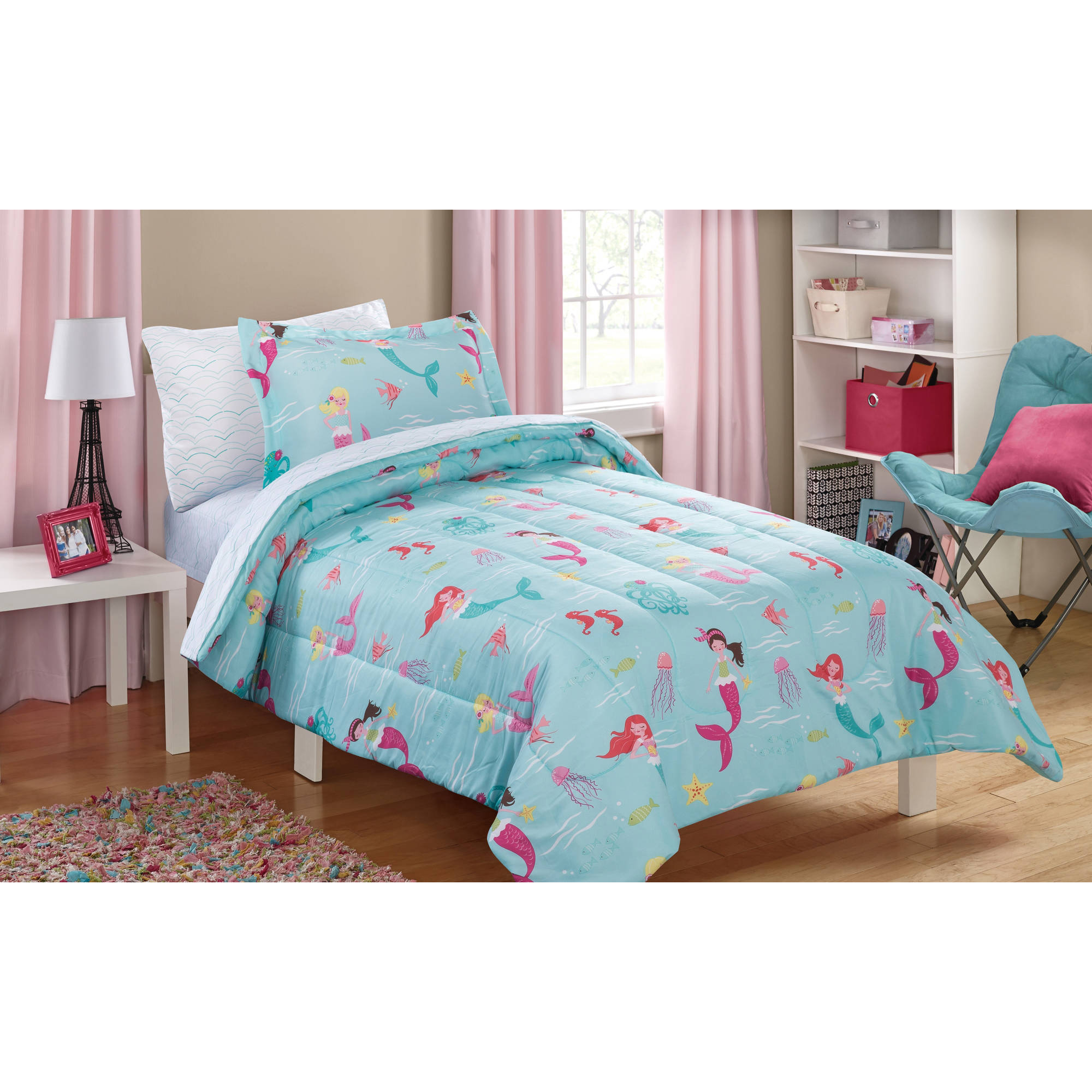 mainstays kids mint mermaid bed in a bag complete bedding set. Black Bedroom Furniture Sets. Home Design Ideas