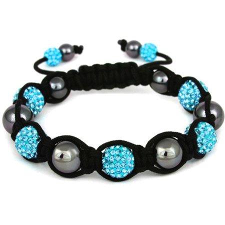 BodyJ4You Disco Balls Bracelet 7 Aqua Beads Pave Crystals Adjustable Wrist Iced Out Jewelry