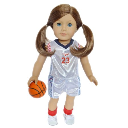 My Brittany S White Basketball Outfit For American Girl Dolls 18 Inch Doll Clothes Top Shorts Basketball