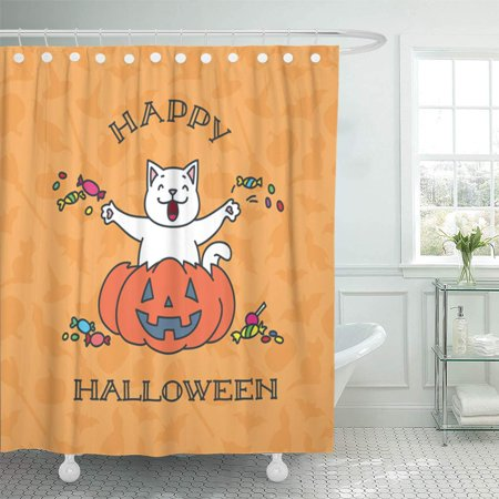 Happy Halloween Pumpkins White (KSADK Orange Autumn Happy Halloween of Funny White Cat Sitting in The Pumpkin 8 Cartoon Shower Curtain Bath Curtain 66x72)