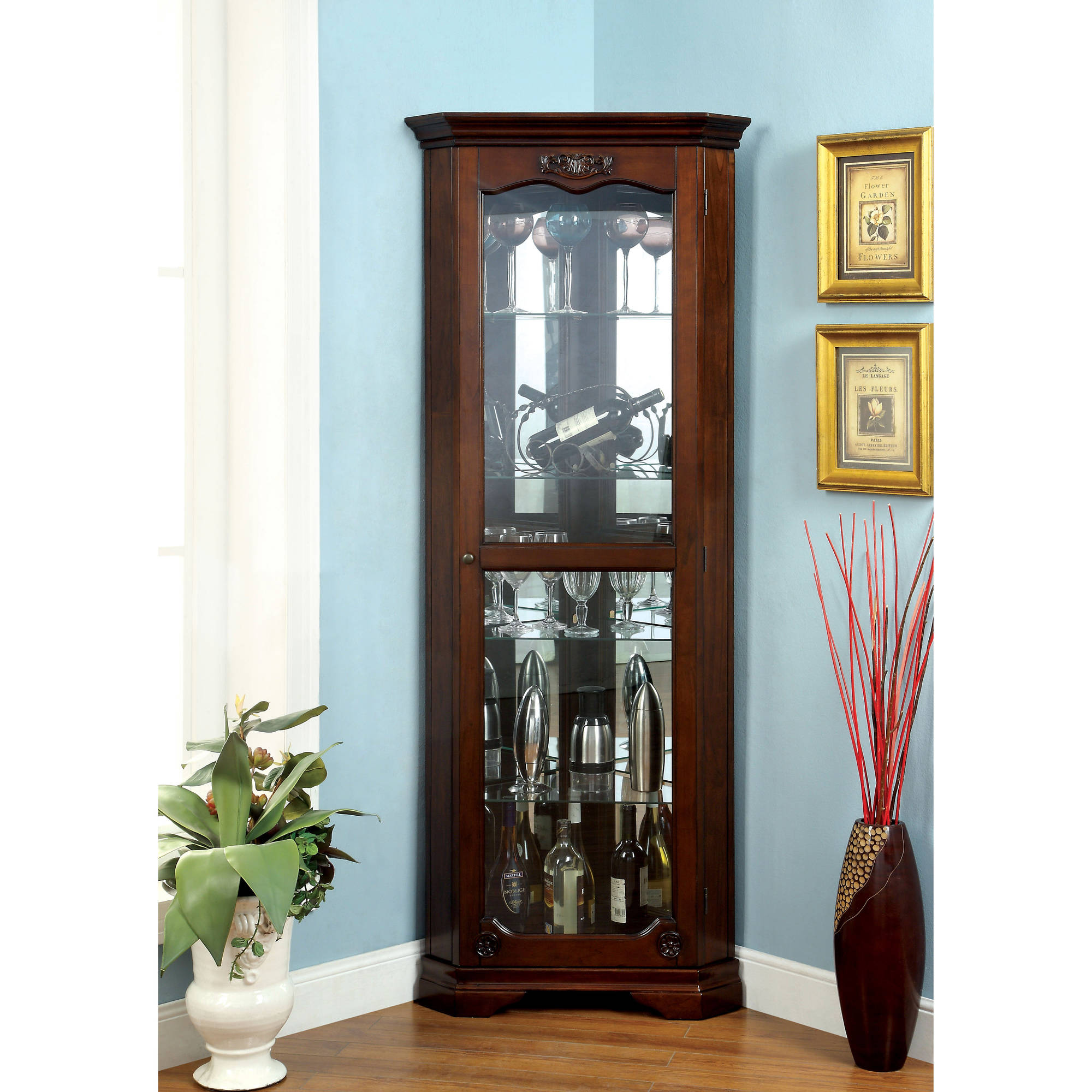 Furniture Of America Hammal Traditional Corner Curio Cabinet, Walnut