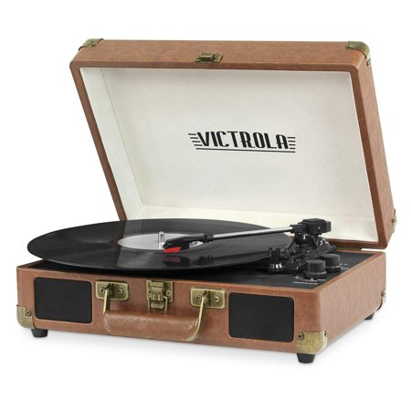 Victrola Vintage 3-Speed Bluetooth Suitcase Turntable with Speakers, Brown (Certified