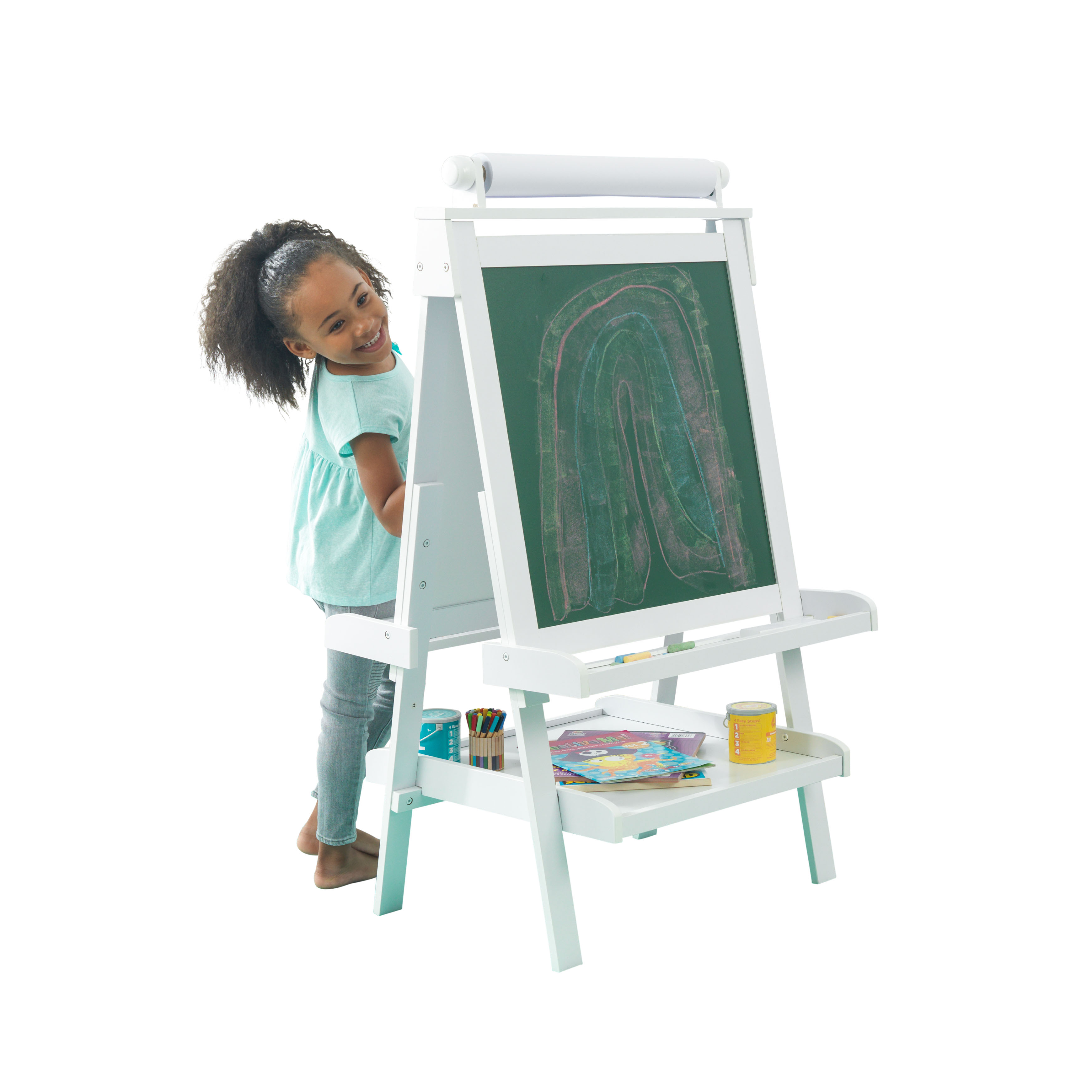KidKraft Deluxe Wood Easel, White with a Paper Roll, Anti-Spill Paint CUps, a Chalkboard, a Whiteboard and Trays